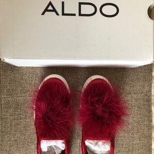 Aldo red platform sneakers w pom poms NEW w BOX,6